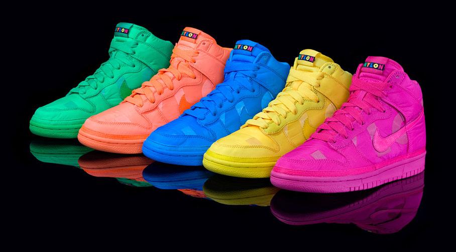 nike neon dunk high nylon sneakers